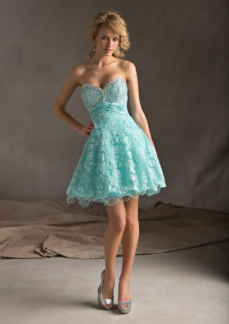 New Arrival 2015 Lace Prom Dress Short Turquoise Party Dress For ...