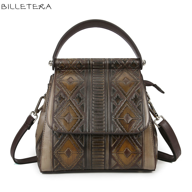 ФОТО BILLETERA Fashion Genuine Leather Women Backpack Schoolbag Vintage Women's Shoulder Bag Leather