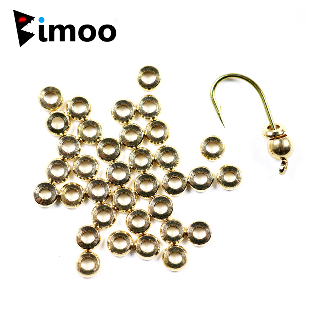 Bimoo 50PCS/Bag 3mm 4mm Flat Brass Bead Bug Collars Fly Tying Nymph Fly Head Weight Ring Extra Fly Tying Materials Plished