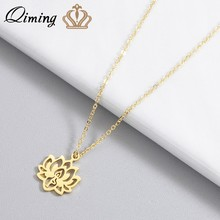 QIMING Yoga Lotus Pendant Necklace Women Stainless Steel Jewelry Buddhism Water Lily Indian Vintage Boho Necklaces Female(Hong Kong,China)