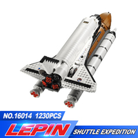 1230Pcs Lepin 16014 Out Of Print Shtttle Expedition Spaceship 10231 Buliding Blocks Bricks Educational Toys