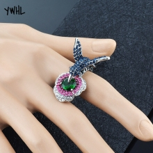 Creative three-dimensional zircon flower ring hummingbird high-end jewelry, female Christmas gift