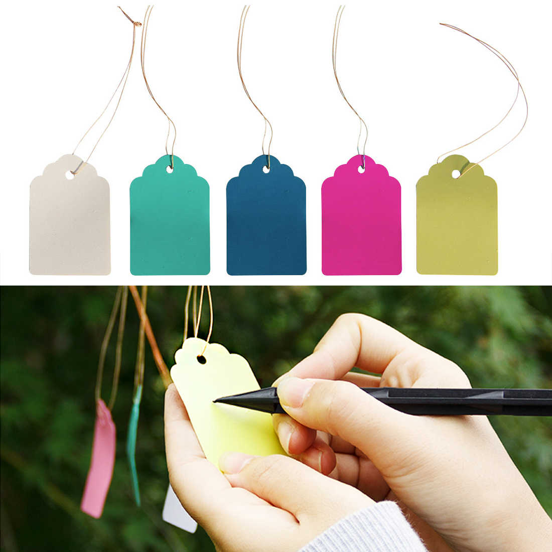 100Pcs Tanaman Label Hang Tag Bibit Taman Pot Bunga Garden Nursery Pot Pekebun Bunga Tebal Tanaman: Label Marker