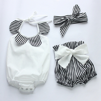 Baby Rompers 2016 Hot Sell White And Black Strip Baby Romper Set Newborn Baby Clothes Boutiques