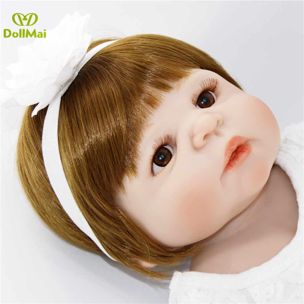 "Bebes reborn branco vestido de menina cheia de silicone de vinil corpo 23 ""57cm reais renascer baby dolls presente para criança lol bonecas reborn"