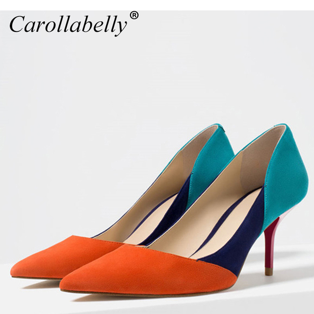 New Mix Color High Heels Orange Blue Grey Nude Pointed Toe Pumps Cut Outs Woman Shoes -8102