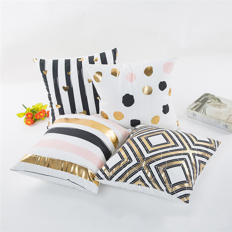 Geometria Bronzing Cushion Cover Strip Love Printed Cotton Pillows Case Sofa Bedroom Home Office Decorative Throw Pillowcases (1)