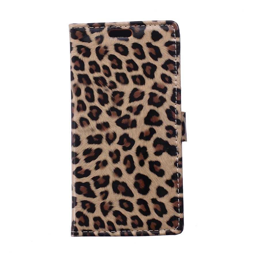 Classic sexy cover case para htc one me leopardo de cuero hecho a mano accesorio