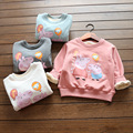 2016 Fashion Cartoon Girls Sweatshirts 2-7 Years Kids Girls Pig Thicken Winter Hoodies Plus Velve Babies Girls Tops Costume
