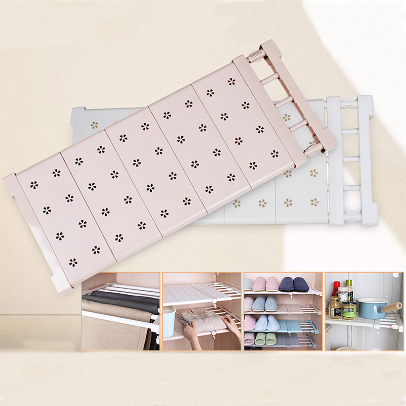 Adjustable Stretching Wardrobe Layered Separated Compartment Shelves Bathroom Kitchen Storage Rack Dormitory Punch Free