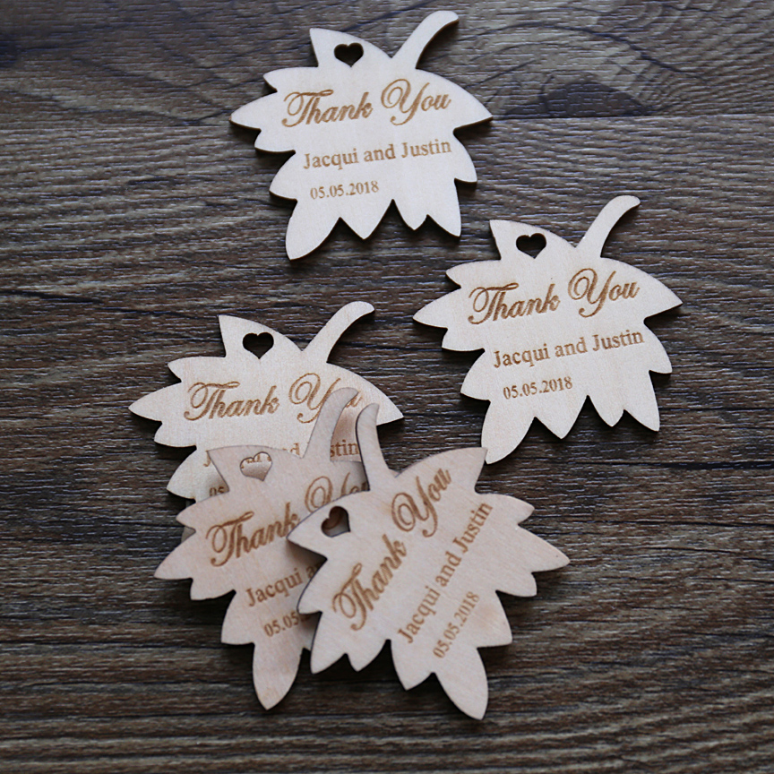 Custom Maple Leaf Wood Tags With Name