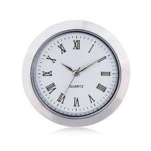 """Мини-часы с кварцевым механизмом, круглая вставка 1 7/1""""(35 мм), белый циферблат, серебристый тон, ободок, римские цифры, циферблат часов"""