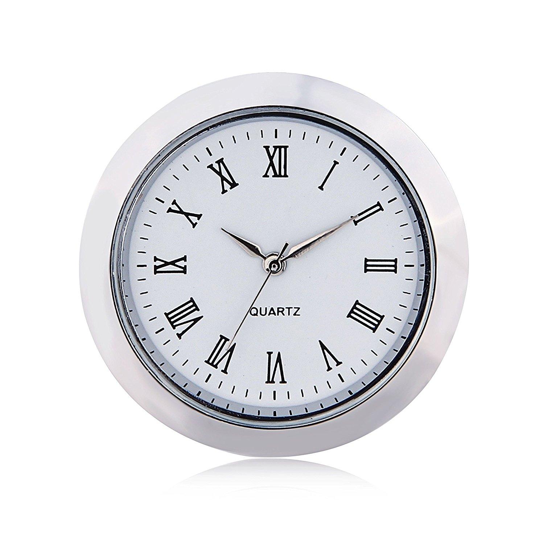 Mini Clock Quartz Movement Insert Round 1 7/16 (35mm) White Face Silver Tone Bezel Roman Numerals Watch FaceMini Clock Quartz Movement Insert Round 1 7/16 (35mm) White Face Silver Tone Bezel Roman Numerals Watch Face