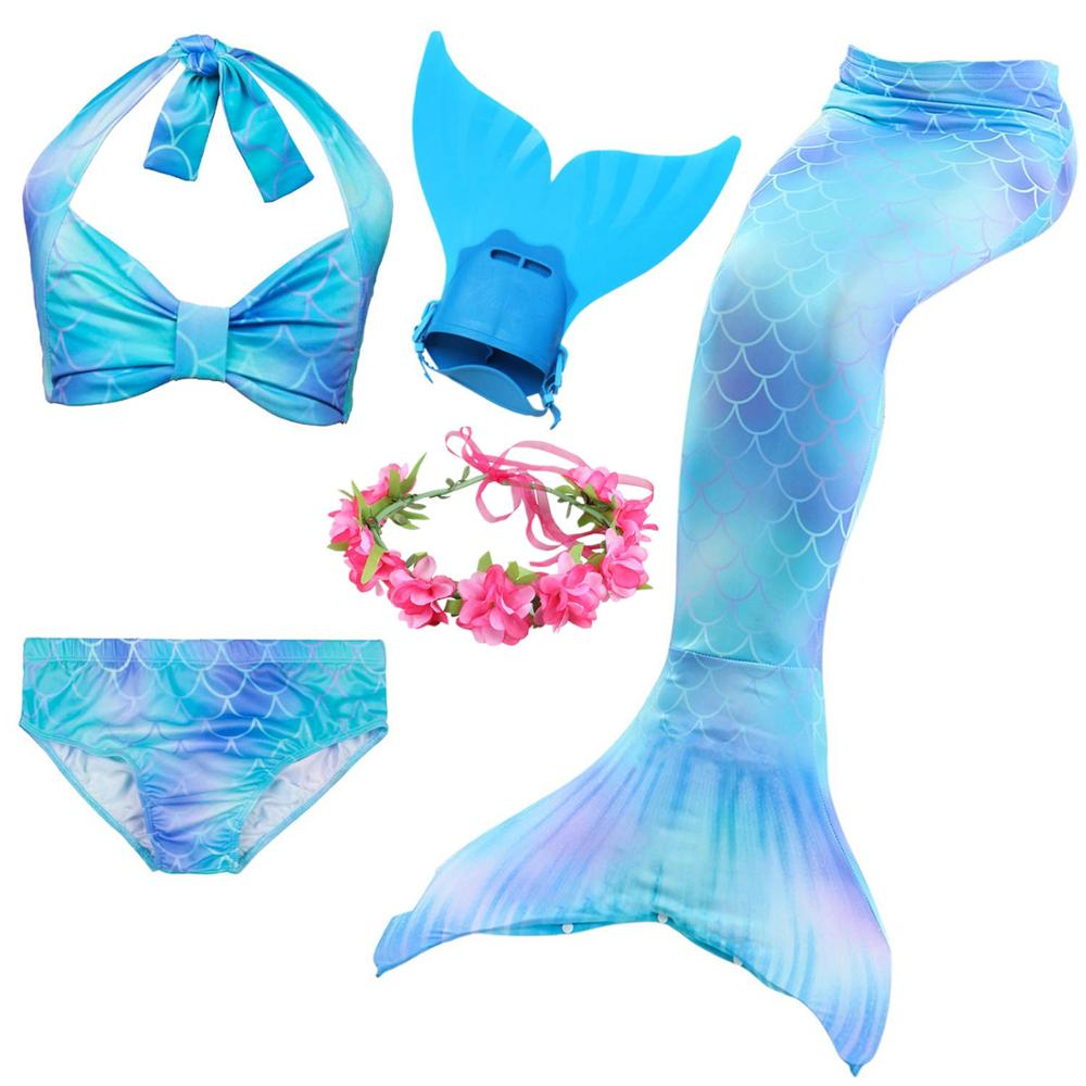 80d01627448 6 Colors Girls Swimming Mermaid Tail with Monofin Bathing Suit Children  Ariel the Little Mermaid Tail Costume Kids Swimsuit