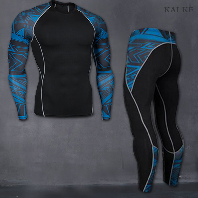 MMA Rashguard Long Sleeves fitness t-shirt man compression set T-shirt mens tights union suit thermal underwear S-XXXL-XXXXL