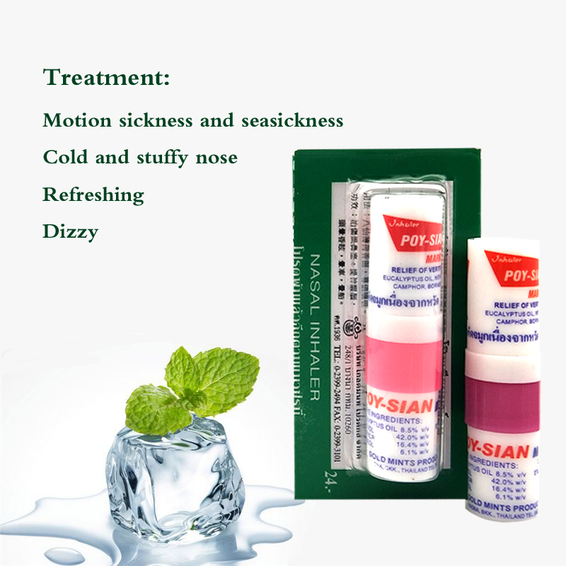 3pcs Thailand Nasal Inhaler Poy Sian Mark 2 Ii Nasal Smell Dizziness Inhaler Bracing Breezy Asthma Refreshing Aroma Oil Stick