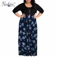 Nemidor 2018 Summer Women O neck Short Sleeve Casual Long Dress Plus Size 7XL 8XL 9XL Vintage Chevron Print Loose Maxi Dress