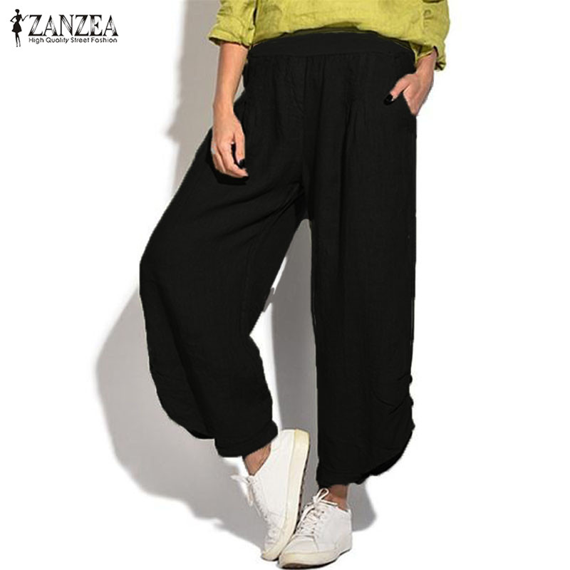 2019 ZANZEA Summer Women   Wide     Leg     Pants   Female Casual   Pants   Elastic Waist Solid Trousers Loose Pantalon Plus Size Harem   Pants