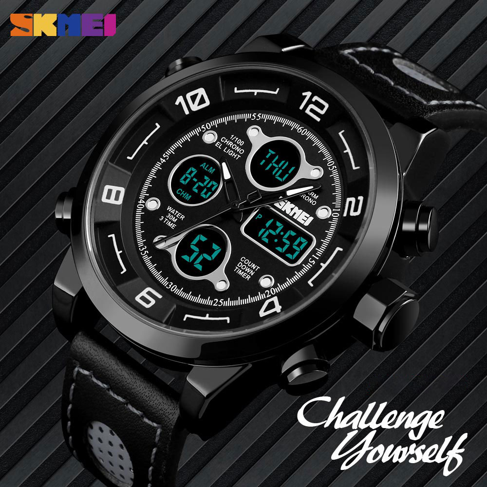 SKMEI Watches Men Sport Countdown Fitness Watch Three Time Chronograph Stopwatch Clock Electronic Watch Wrist Relogio Masculino skmei men s watches compass world time week date stopwatch chronograph led display digital watch clock man sport watches for men