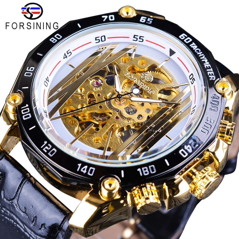 Forsining New Golden Bridge Design Gear Movement Inside Open Work Steampunk Mens Watches Top Brand Luxury Mechanical Wrist Watch forsining 3d skeleton twisting design golden movement inside transparent case mens watches top brand luxury automatic watches