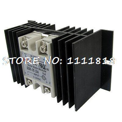 DC to AC Solid State Relay SSR-75DA 75A 3-32VDC 24-380VAC + Aluminum Heat Sink dc to ac solid state relay ssr 40a 3 32vdc 90 480vac w aluminum heat sink