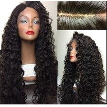 LUFFYHAIR brezilyalı kıvırcık ipek taban dantel peruk bebek saç tutkalsız Remy saç ipek üst dantel ön peruk siyah için kadın