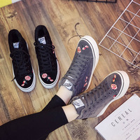 Hemmyi New Arrival Winter Short Plush Women Casual Shoes Flower High Help Canvas Sneakers Basket Femme