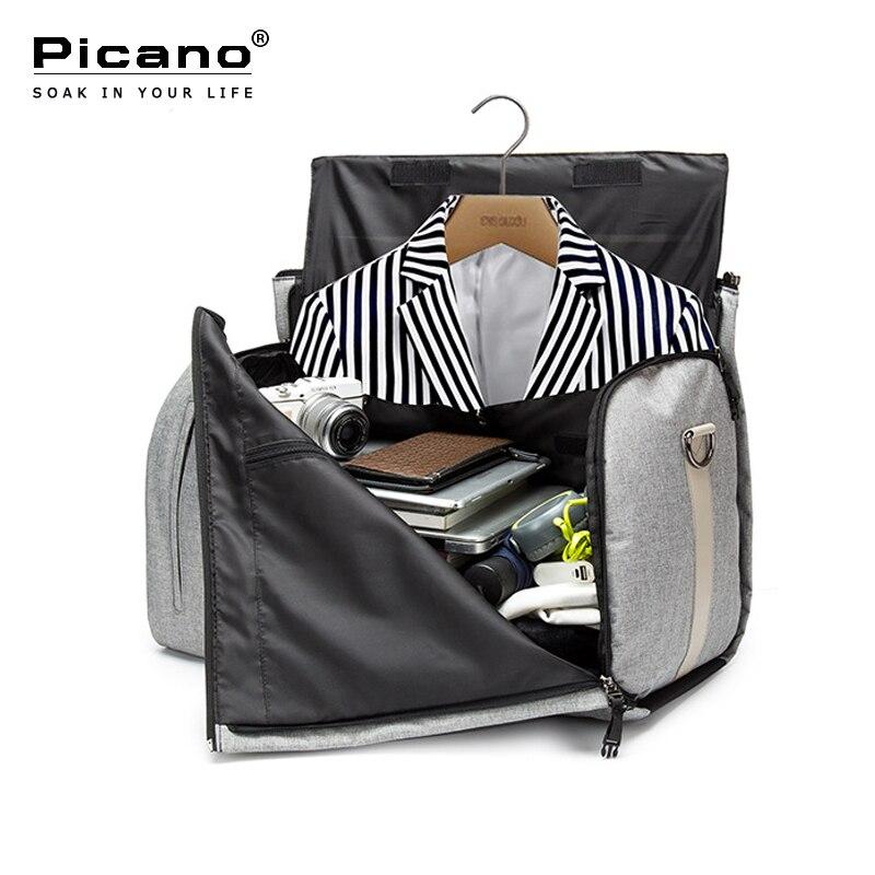Picano Travel Bag Men 2 in 1 Garment Bag Large Capacity Multi function Foldable Oxford Duffle Bags Suit Business Shoulder Bag