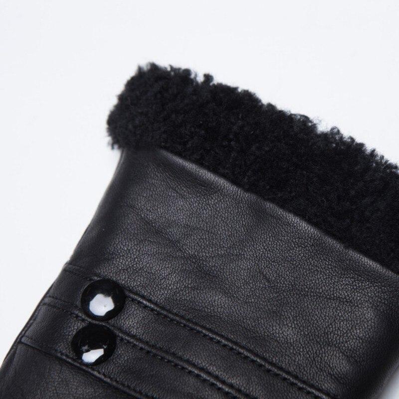 Gants de luxe en cuir de vache véritable homme femme vraie fourrure de mouton gants de conduite chauds mitaines de petit ami d'hiver en gants d'italie - 4