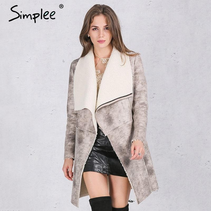 Simplee Autumn winter suede lambswool coat women 2016 Elegant warm zipper cashmere coat Turn down collar wide waisted overcoat