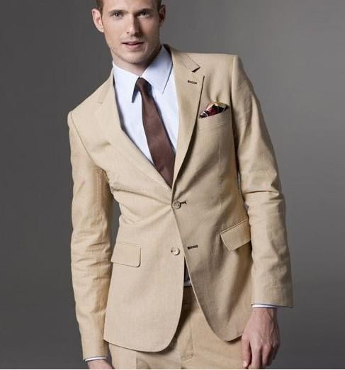 Classic Style Two Button Khaki Groom Tuxedos Groomsmen Men's ...