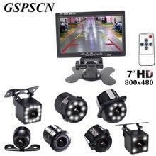 Gspscn 7 дюймов Мониторы ЖК-дисплей Цвет HD TFT Экран Авто Парковка заднего вида Мониторы + LED Ночное Видение заднего камера