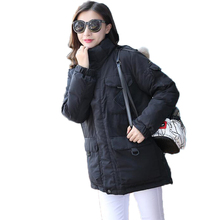 Winter Jacket Women New 2016 Slim Solid Color Hooded Raccoon Fur Thick Duck Down Coat Casual Military Medium Long Femme Parka