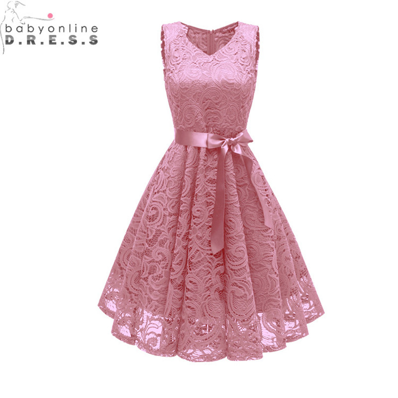 New Arrival Pink Lace Short   Evening     Dress   Sexy Cut-out V Neck   Evening   Gowns with Sashes Robe de Soiree Courte