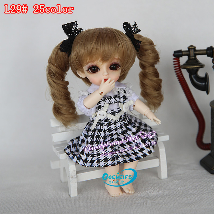 OUENEIFS free shipping size 5-6 inch 1/8 high-temperature wig girl hair bjd sd doll Lovely Wig in beauty and health with bangs 1 6 27cm bjd nude doll wave bjd sd doll girl human body not include clothes wig shoes and other access