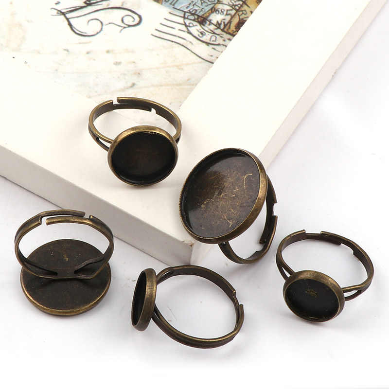 Adjustable Round Ring Flat Pad bezel Embellishments Cabochon Bases Setting Blanks DIY Ring Jewelry Supplies Finding
