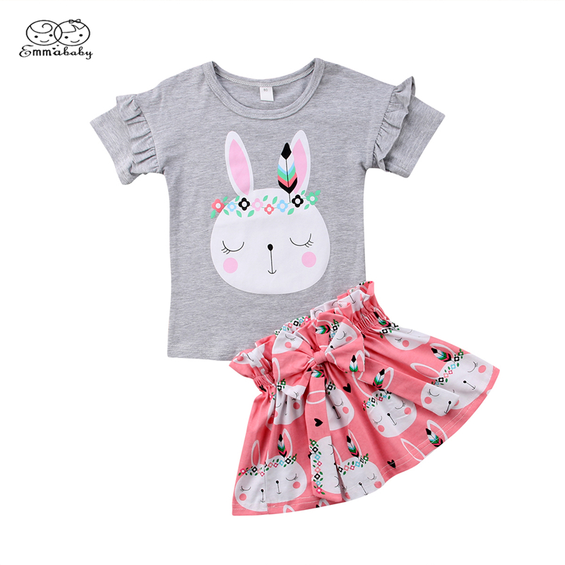 Cute Toddler Baby Girl Easter Short Sleeve Cartoon Top+Long Pants Kid Outfit Set