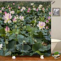 グリーン熱帯植物シャワーカーテン防水ポリエステル Bape 浴室カーテン花印刷カーテン浴槽用アートの装飾