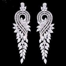 Elegante Impresionante Vintage Pendiente Del Grado Del AAA Cubic Zircon Pendiente Del Diamante de LA CZ de La Boda Nupcial Pendiente de la Lámpara