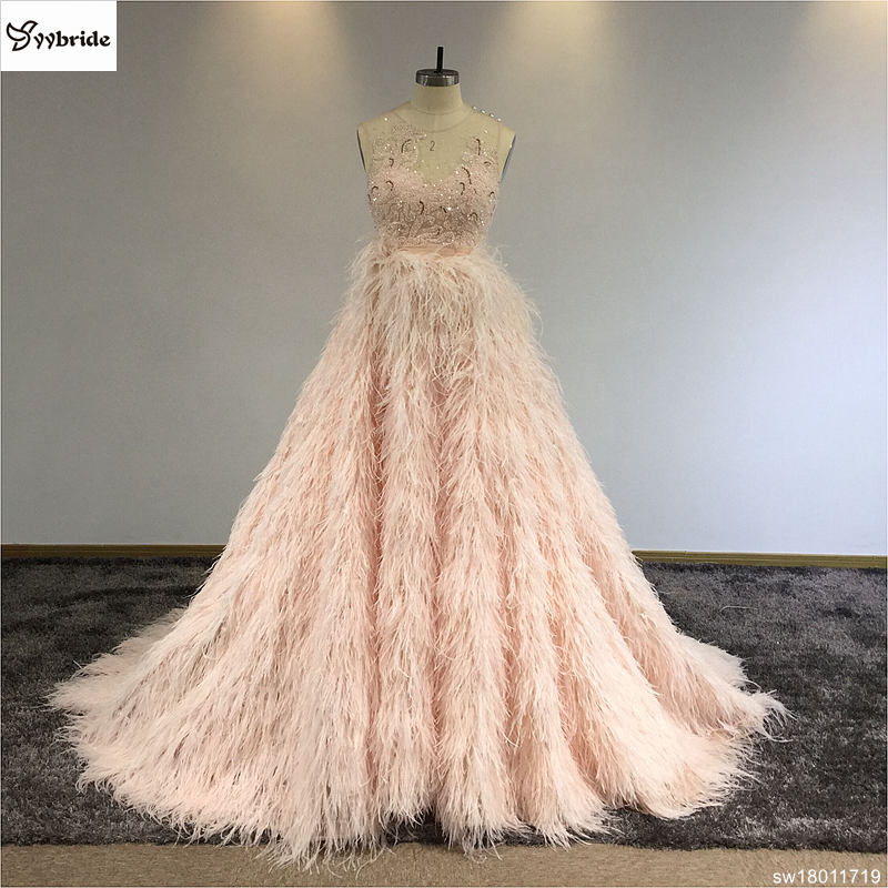 vestidos elegent   dress   2019 Sexy O-neck Sleeveless   Evening     Dress   autumn Feather floor length   Dress   For Party Vestidos Formatura