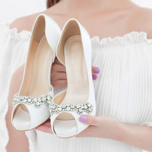 2016 Luxury Handmade Ivory Rhinestone High Heels Bridal Shoes  Elegant Wedding Shoes Peep Toe Girl  Dress Shoes Free shipping