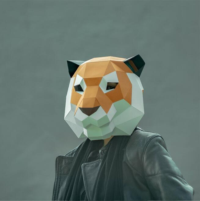 Tiger Paper 3D DIY Material Manual Creative Head Mask Party Masquerade Show Props #1454 Lovely Tide Hand Made Cute Mask