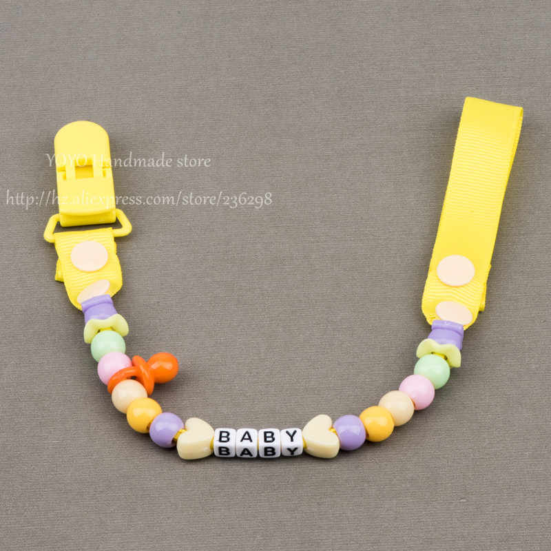 MIYOCAR personalizado-cualquier nombre hecho a mano con cuentas de cebra Rojas clip de maniquí chupete clip cadena para bebé