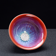 Jia-gui luo 1 pcs Chinese ceramic kiln inlaid silver crafts lotus Kung Fu teacup kitchenware