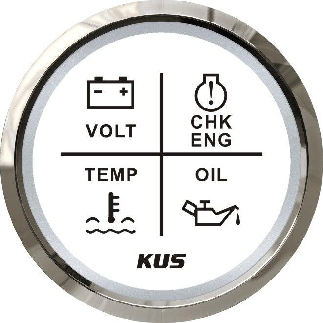 New Kus 52mm Alarm Gauge Meter 9~32v Volt/oil/water Temp/check Engine 4 Led Alarm Indicator Gauge Fit Car Boat With Backlight