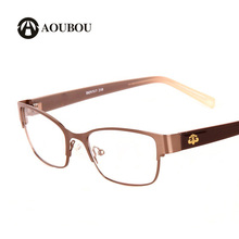 AOUBOU Women Brown Spectacles Computer Myopic Glasses Stainless Steel Frames Flora TR90 Legs High-end Female Grade B019