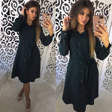9410e6d3373496 Frauen Vintage Schärpen A-linie Party Kleid Langarm Solide Drehen Unten  Kragen Hemd Kleid 2018 Winter Neue Mode Chic Frauen klei.