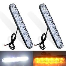 2pcs 6 LEDs Yellow Flowing Turn Signal DRL Daytime Strip Light Bright Waterproof Universal Running 12V Car-styling