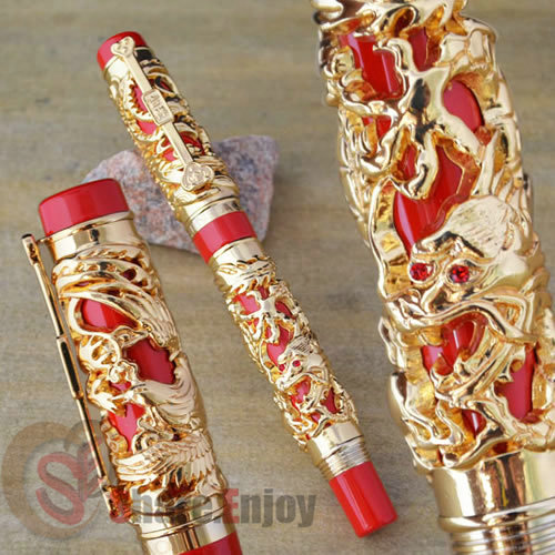 JINHAO NOBLEST DRAGON AND PHOENIX RED GOLDEN ROLLER BALL PEN CRYSTAL гарнитура audio technica ath sport3 rd red