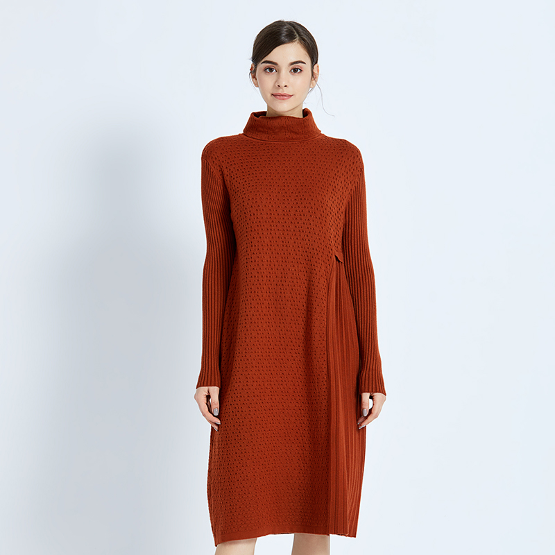 Turtleneck the new foreign trade womens loose half-length collar pleated long woolen cloth female sweater cashmere women 97219